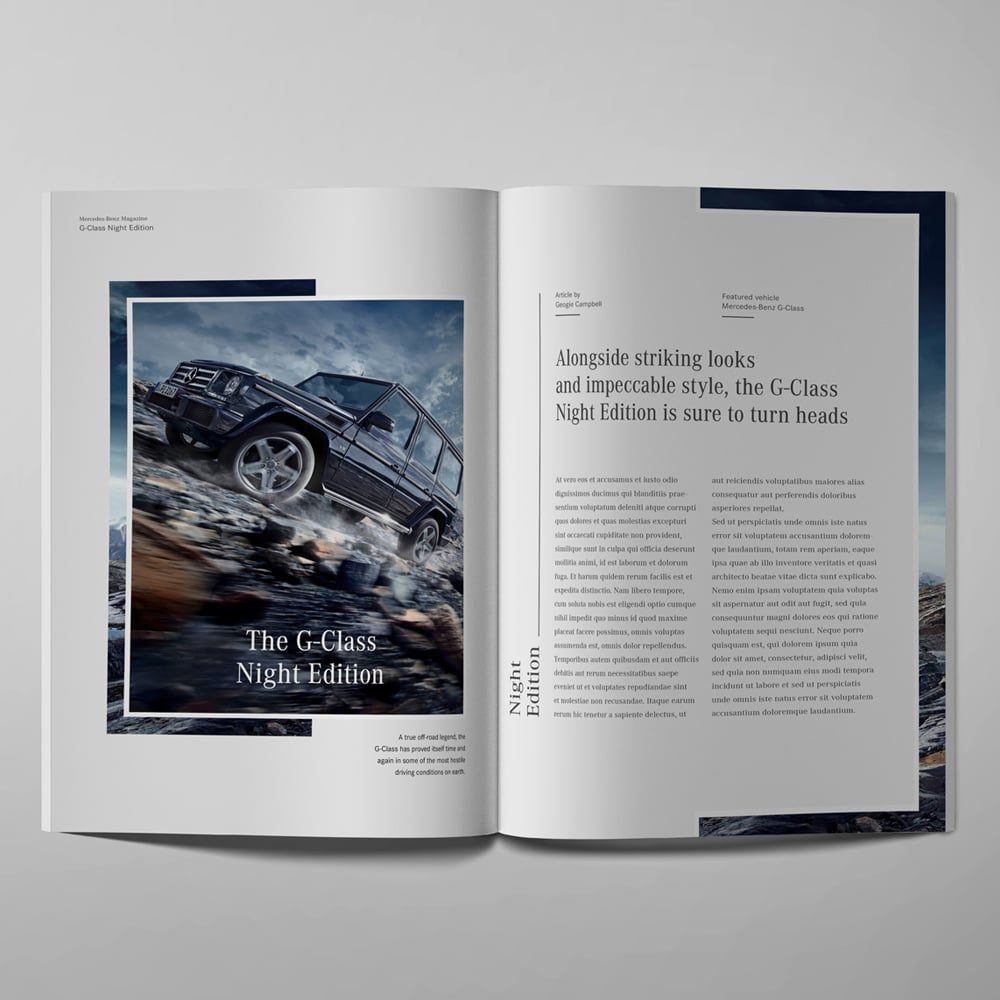 mercedes benz editorial design