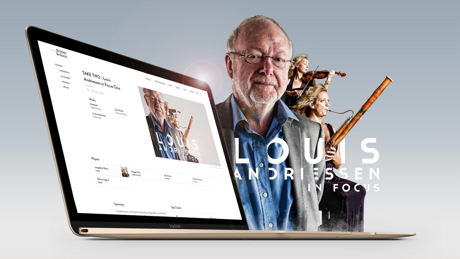 Britten Sinfonia website design desktop mockup