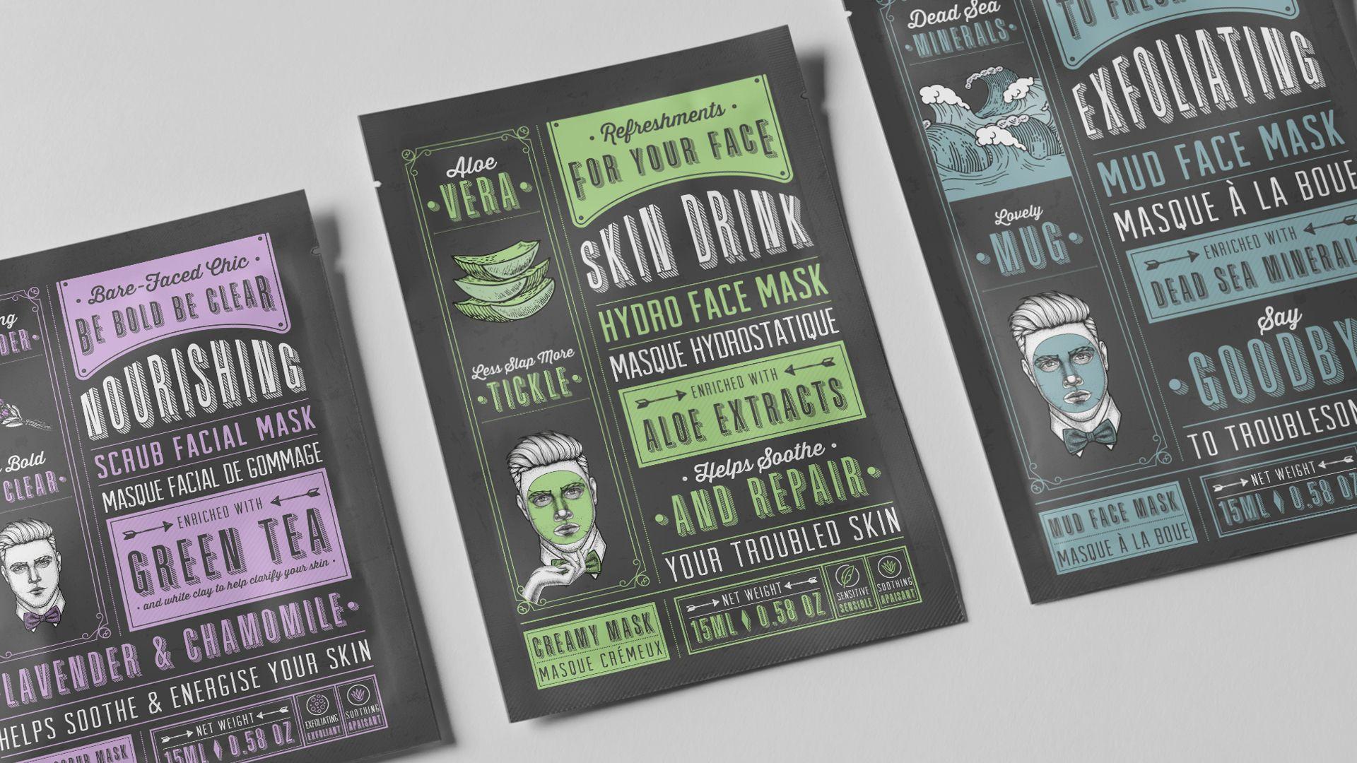 K Beauty packaging design face mask flat