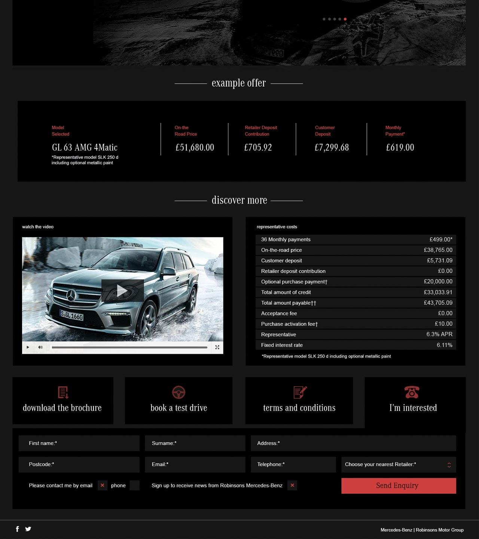 Mercedes Benz Landing Page Design Red Option