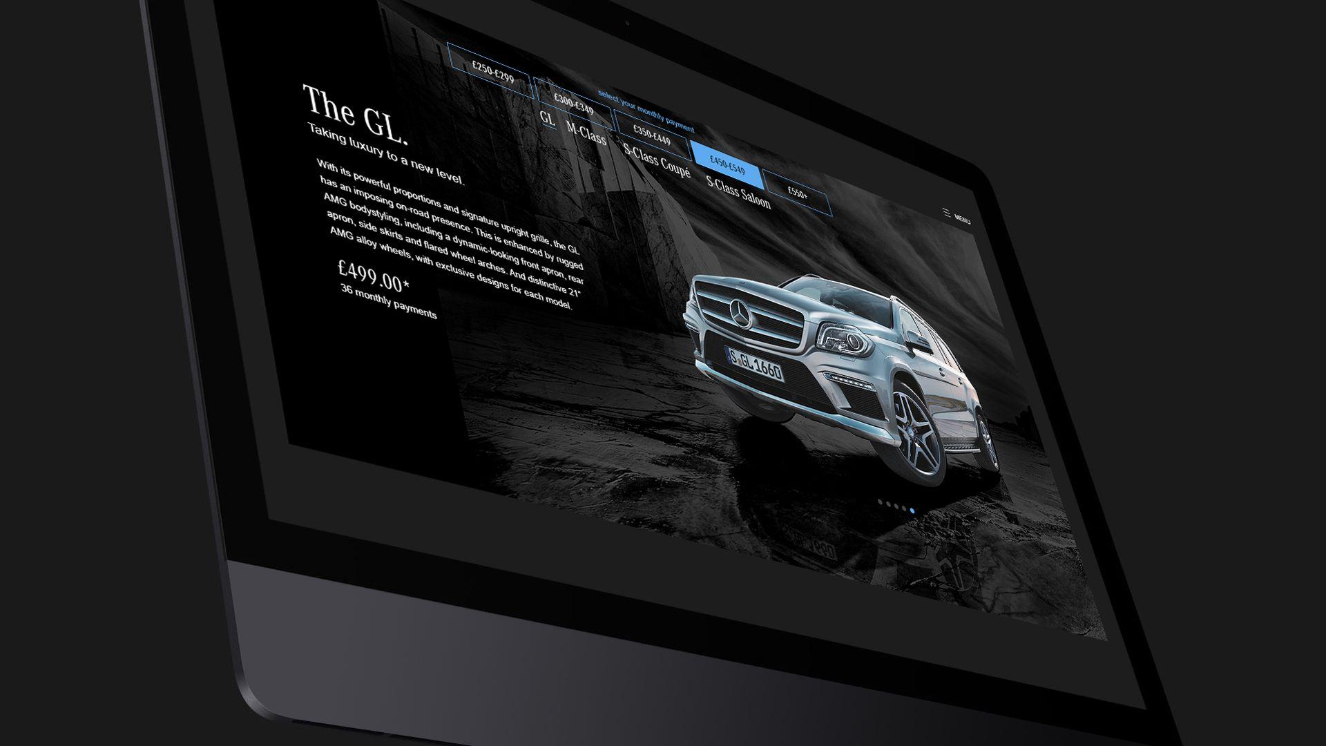 Mercedes Benz landing page design desktop mockup