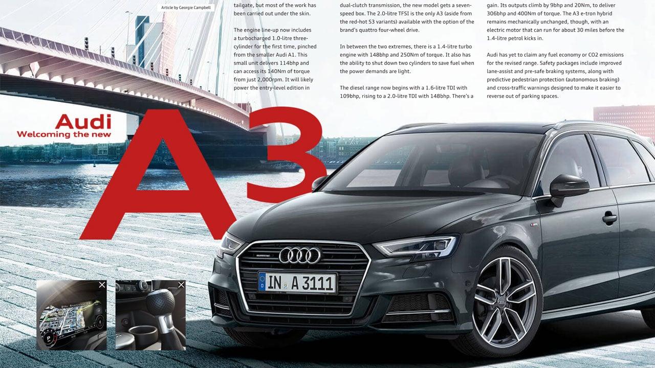 Robinsons Audi allroad magazine A3 spread mockup print design