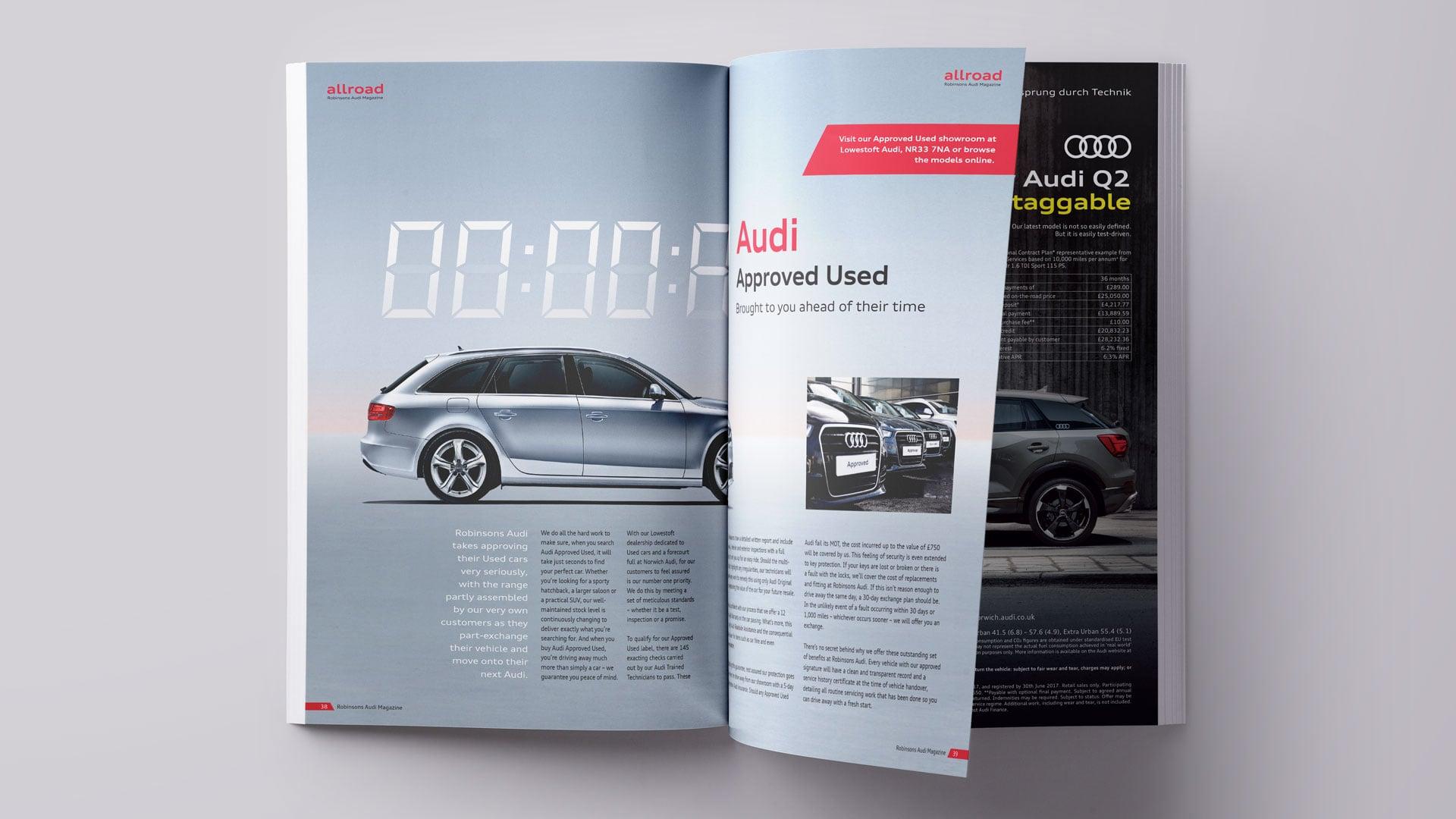 Robinsons Audi allroad magazine approved used spread mockup print design