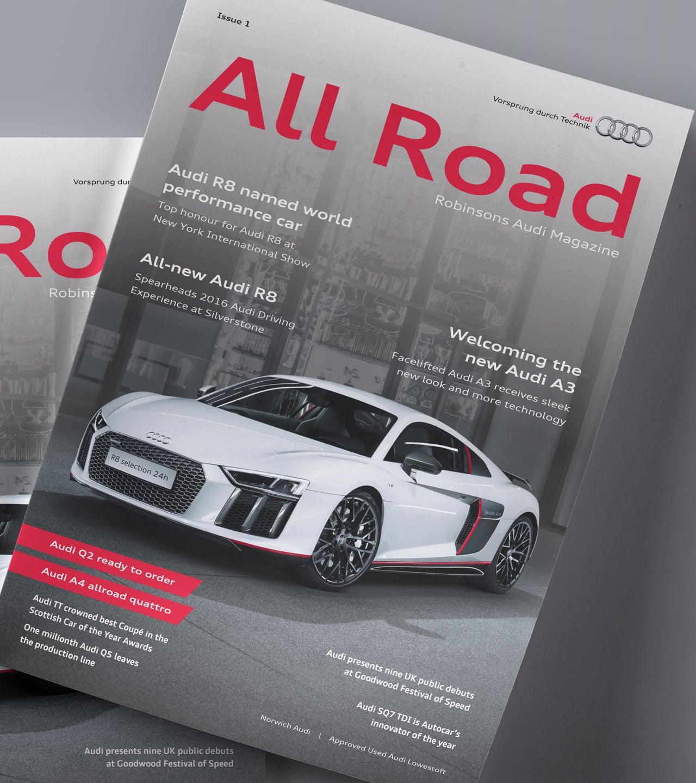 Robinsons Audi allroad magazine cover mockup print design