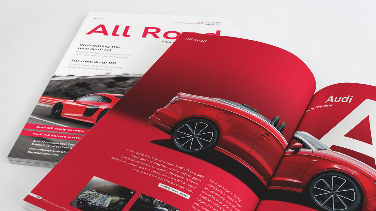 Robinsons Audi allroad magazine pages print design