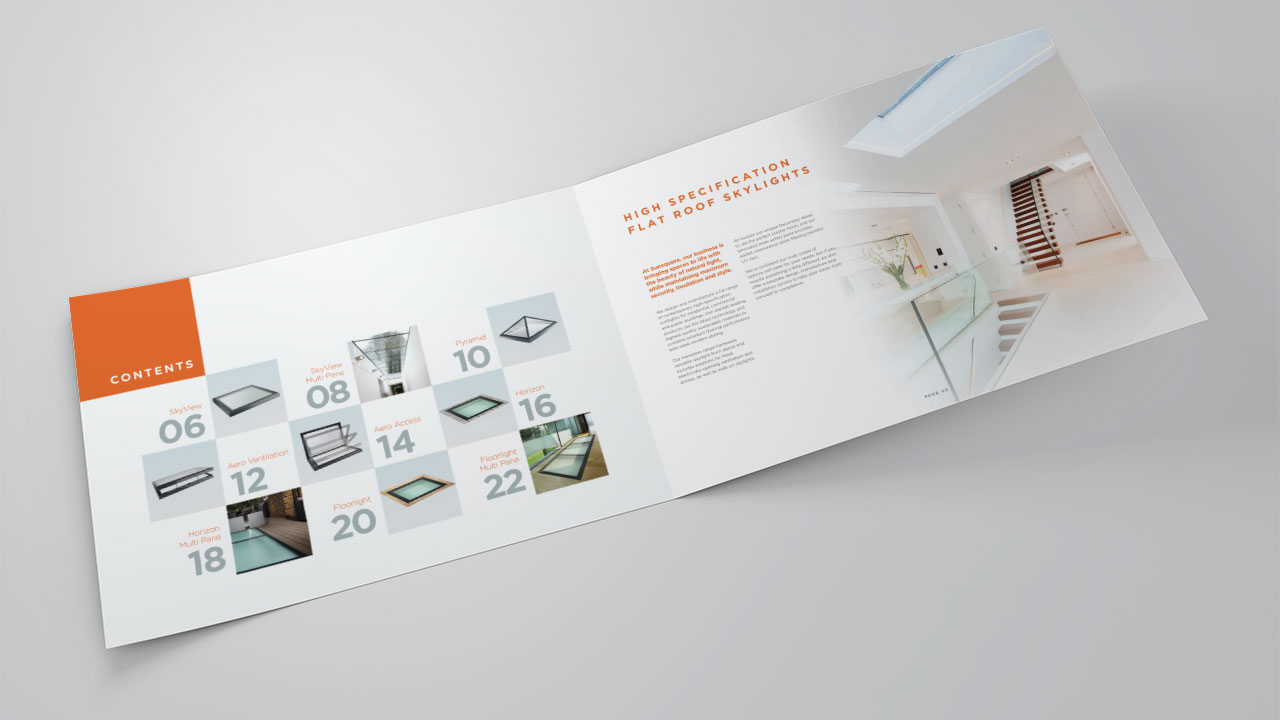 Sun Square A4 Brochure contents mock-up print design