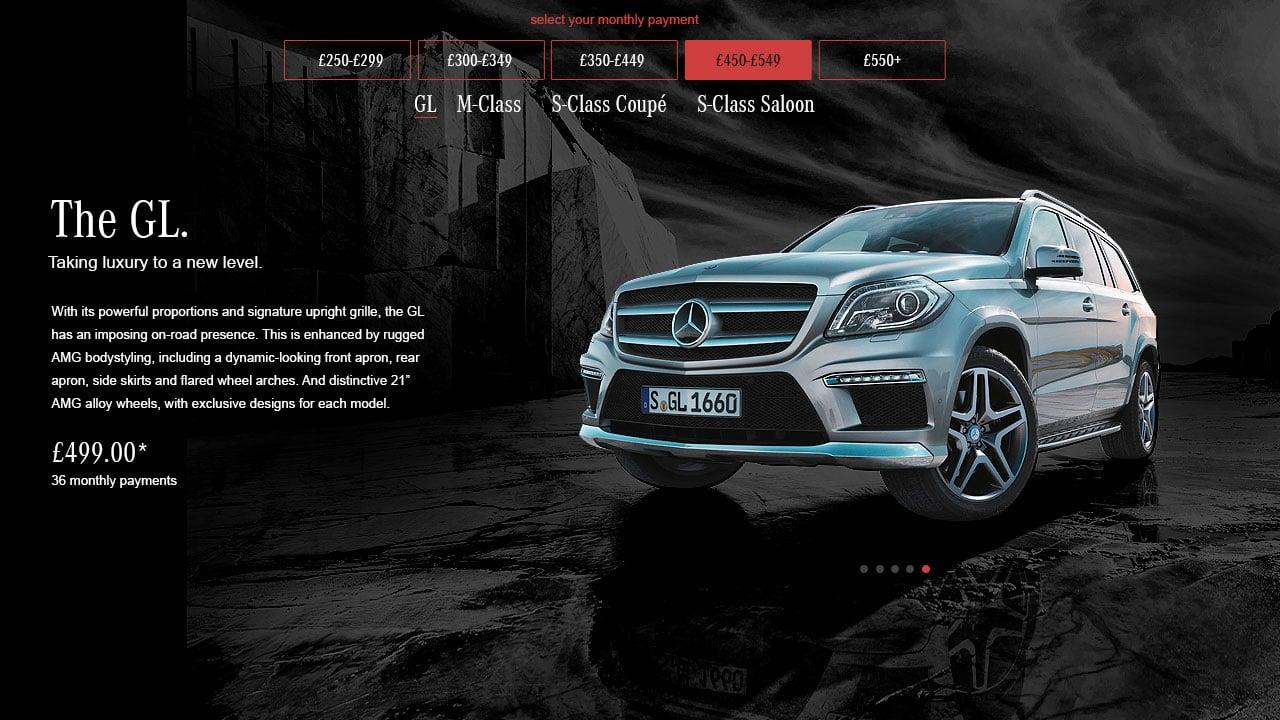 Mercedes Benz Landing Page Design Red Option Header